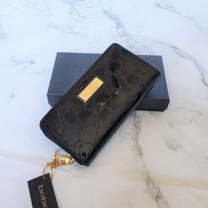 Bebe Dana Embossed Patent Wallet Black